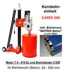Kernbohreinheit CARDI 500 SET mit Kernbohrer MATRIX Beton Diamant-Bohreinheit wie Cardi 501 inkl. Diamantbohrkrone ø nach Wahl und Befestigungs-Set 001