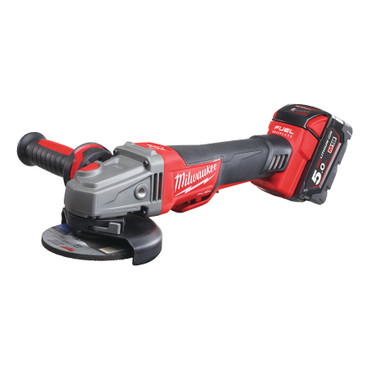 MILWAUKEE M18 CAG125XPDB-502X Akku-Winkelschleifer 125mm FUEL 18 V 5.0 Ah Li-Ion + HD Box mit Totmannschalter, Wiederanlaufschutz und Rapid Stop – Bild 1