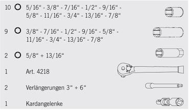 "Projahn 3/8"" US-Zoll Industrie-Steckschlüsselkoffer 25 tlg 6-kant 10 / 3/8"" Stecknuss Nuss Steckschlüsselkoffer – Bild 2"