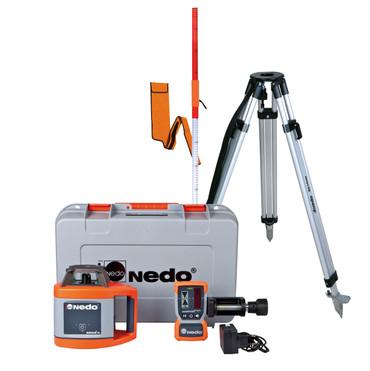 Nedo SIRIUS 1 H Set vollautomatisch Rotationslaser horizontal Laser m. Acceptor 2 digital und Alu-Stativ bis 1,69m – Bild 1