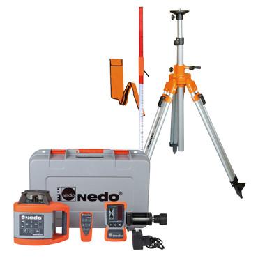 Nedo SIRIUS 1 HV Set vollautomatisch Rotationslaser horizontal vertikal LK 2 mit Laser-Empfänger Acceptor 2 digital und Aluminium-Stativ bis 2,76m – Bild 1