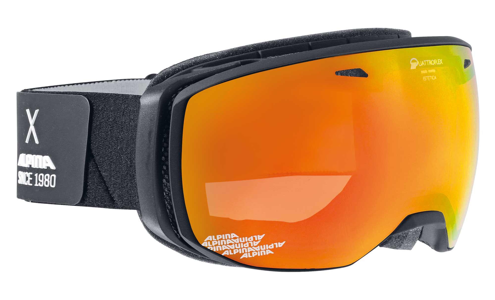 Alpina Estetica - black matt QMM rot - Damen/Mädchen Skibrille