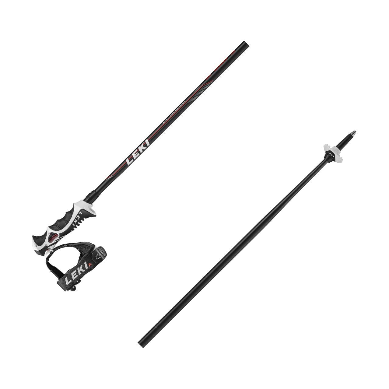 Leki Speed S / 14 mm Rohr - Unisex Skistöcke mit Trigger S - schwarz/rot
