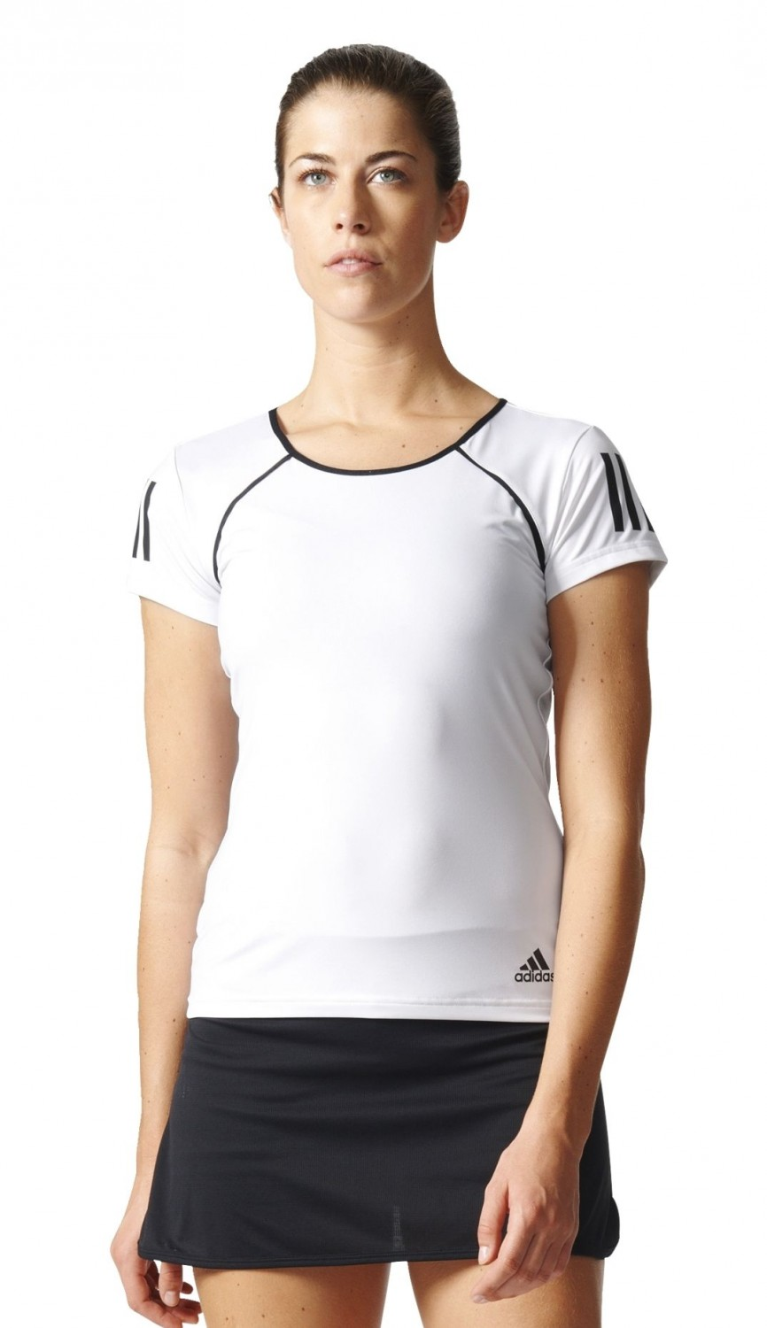 adidas damen tennis trainings shirt club tee weiss schwarz. Black Bedroom Furniture Sets. Home Design Ideas