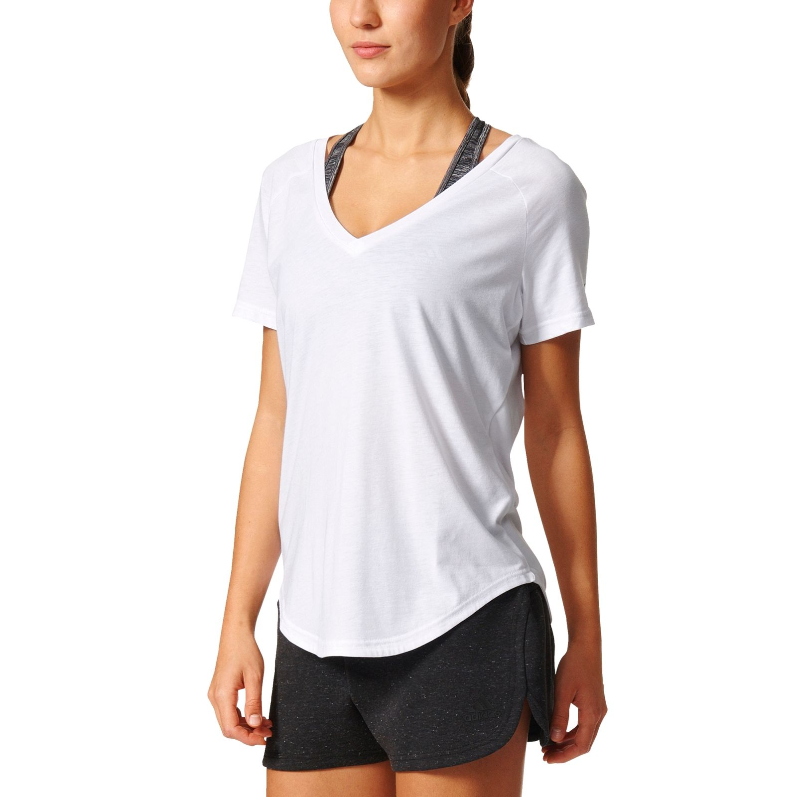 adidas damen fitness training sport freizeit t shirt image. Black Bedroom Furniture Sets. Home Design Ideas
