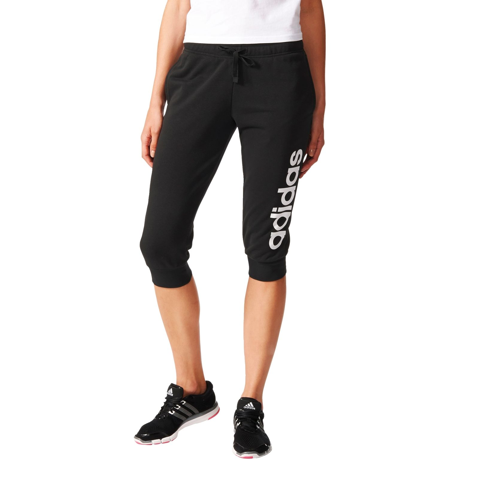adidas damen sport fitness hose essentials linear 3 4 pant schwarz weiss. Black Bedroom Furniture Sets. Home Design Ideas