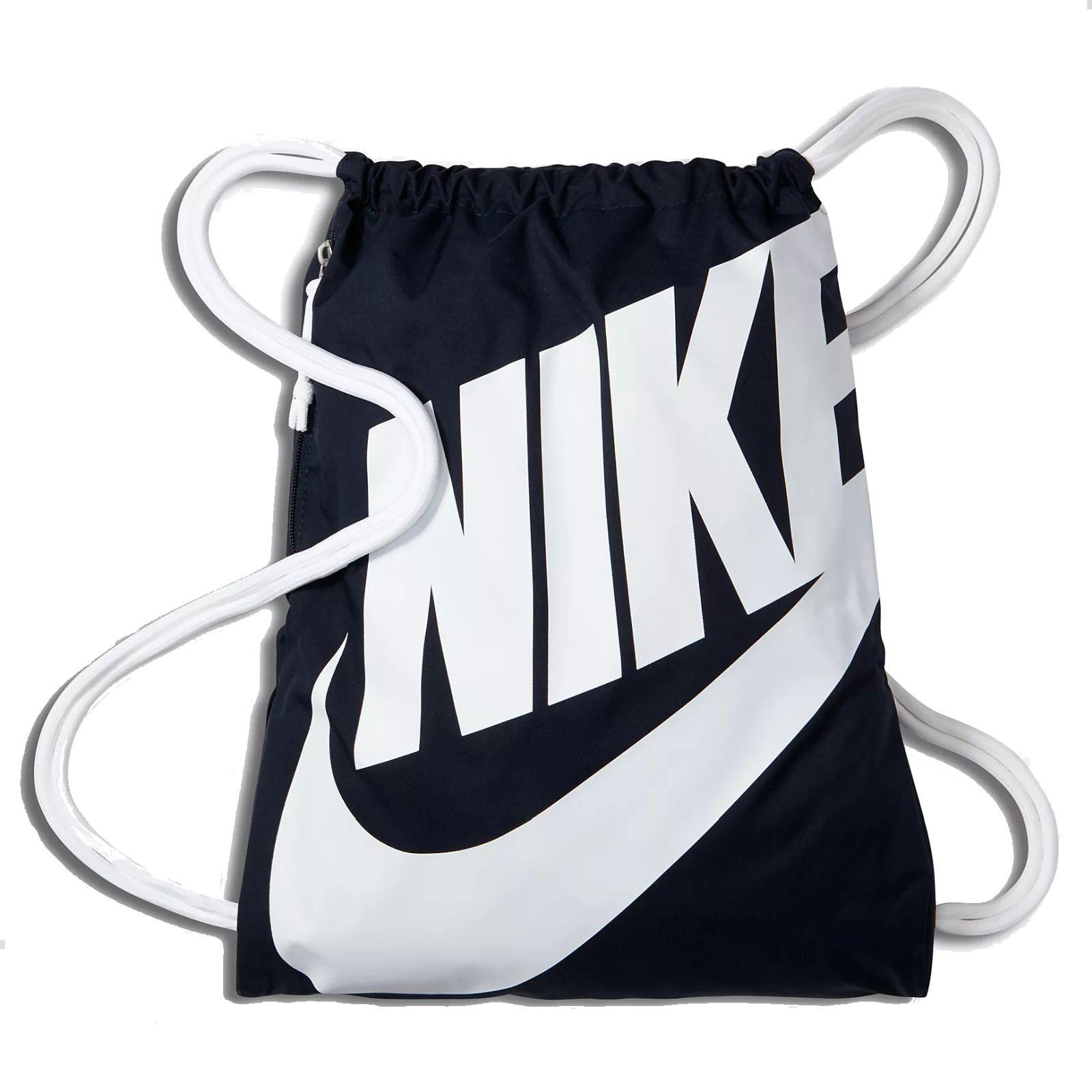 Details zu Nike Kinder Sportbeutel Gymbag NIKE HERITAGE GYMSACK obsidian  blau weiß