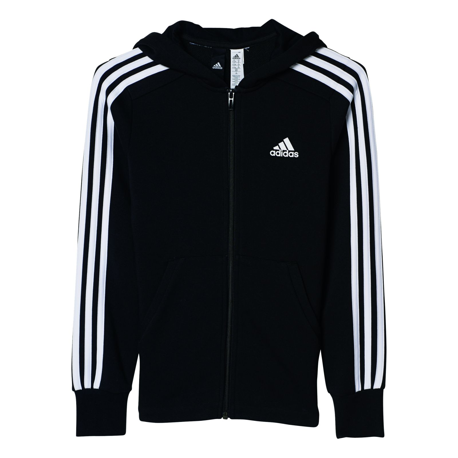 Details about Adidas Performance Girl Training Jacket Ess 3 Stripes Full  Zip Hoodie Black