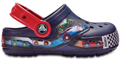 Crocs Kinder Sport Freizeit Clogs Kids' Crocs Fun Lab Graphic Lights Clogs blau