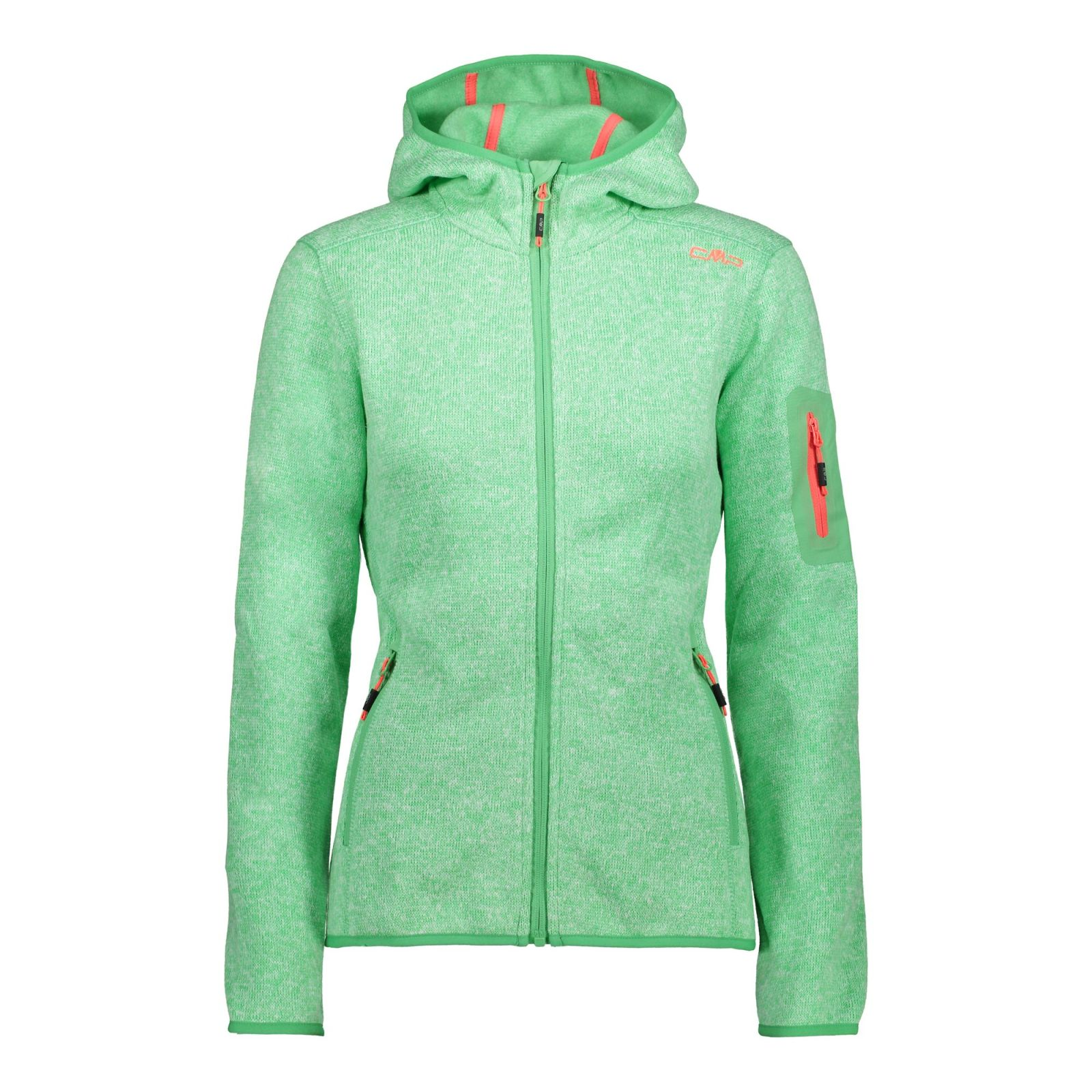 Details CMP Kapuze Freizeit Damen Fleece Campagnolo grün mel zu Hoody LLI Wander Jacke F m0wNn8
