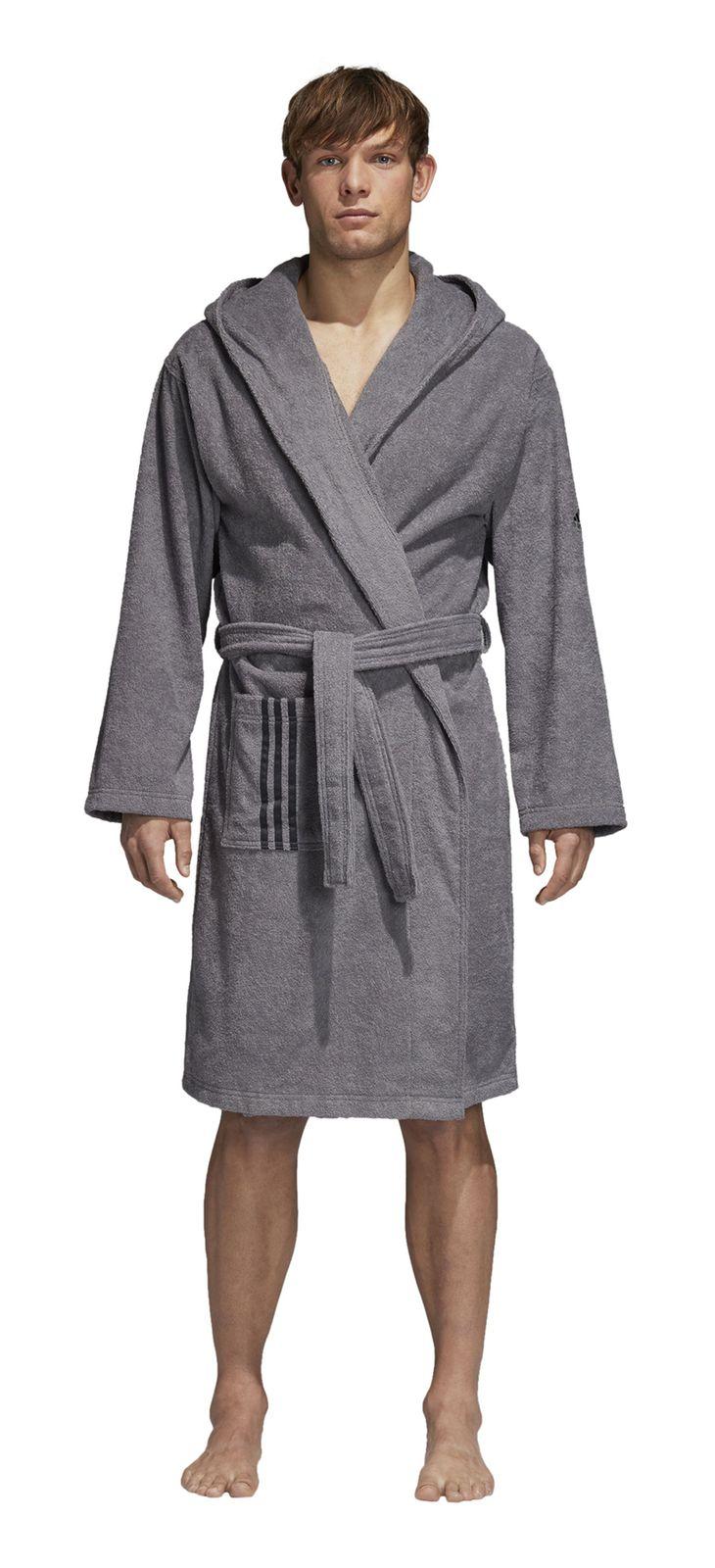 adidas performance herren bademantel bathrobe unisex grau carbon ebay. Black Bedroom Furniture Sets. Home Design Ideas