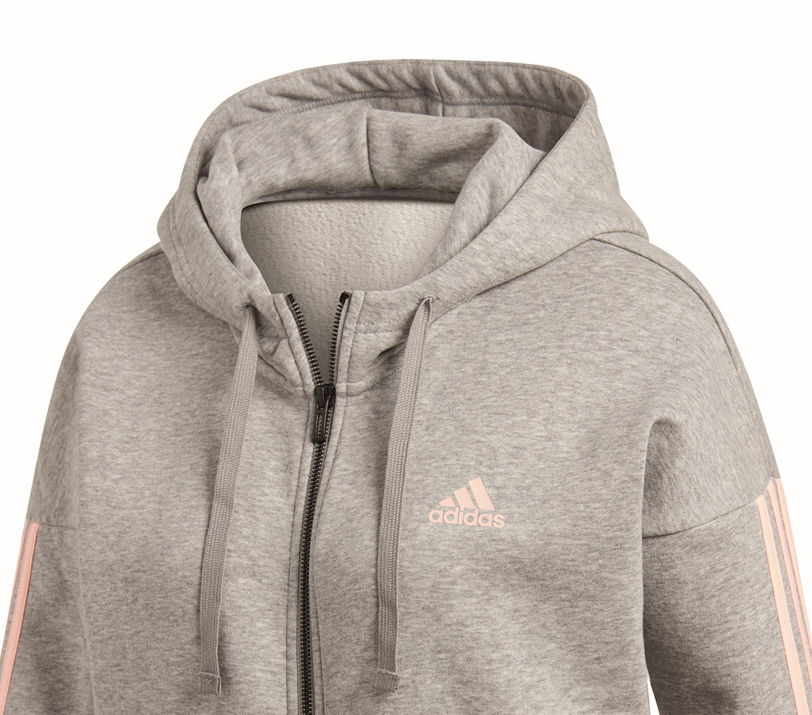 Details about Adidas Performance Women's Sports Hoody 3 Stripes Fullzip  Hoodie Grey
