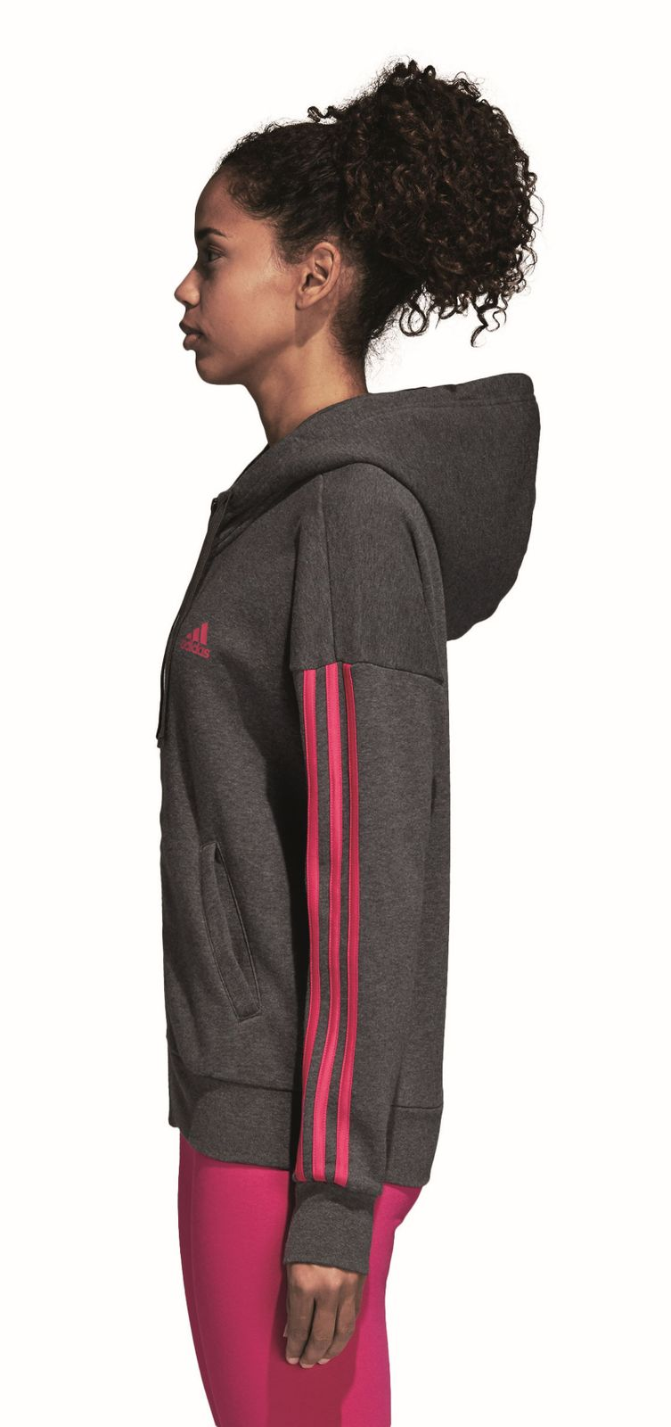 Details zu adidas Performance Damen Sport Kapuzenjacke 3 Stripes Fullzip Hoodie grau rosa