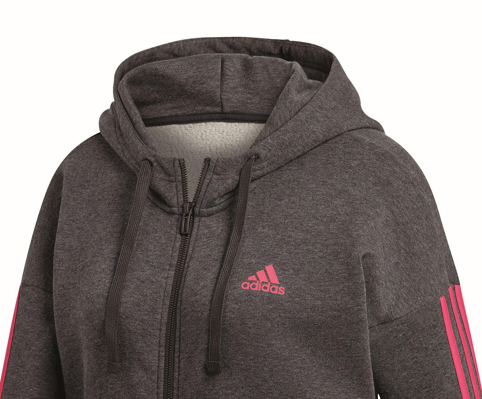 adidas Damen Essentials 3 Stripes Full Zip Hooded Kapuzen Jacke