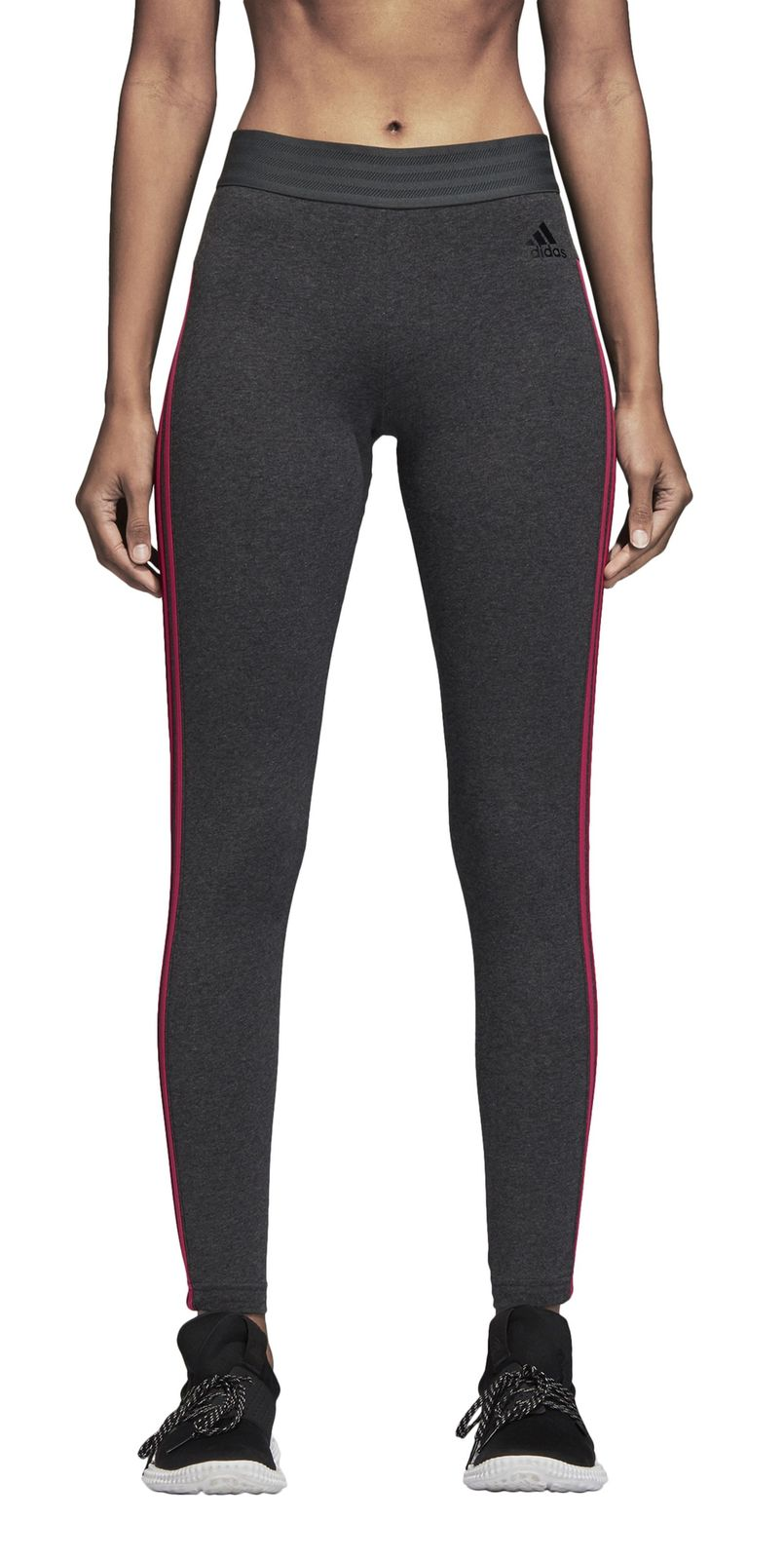 adidas core damen sport fitness hose essentials 3 stripes tight grau rosa. Black Bedroom Furniture Sets. Home Design Ideas