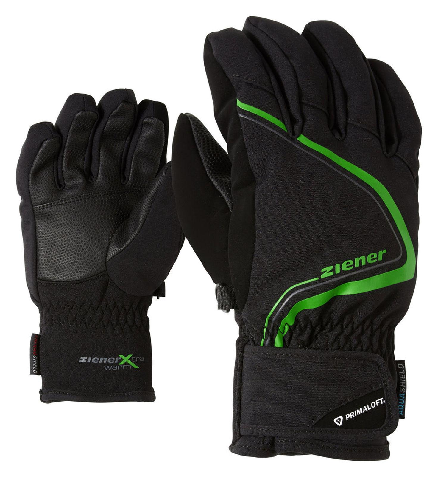 Ziener Kinder Handschuh LANU AS PRIMALOFT JUNIOR schwarz grün 181903 12785