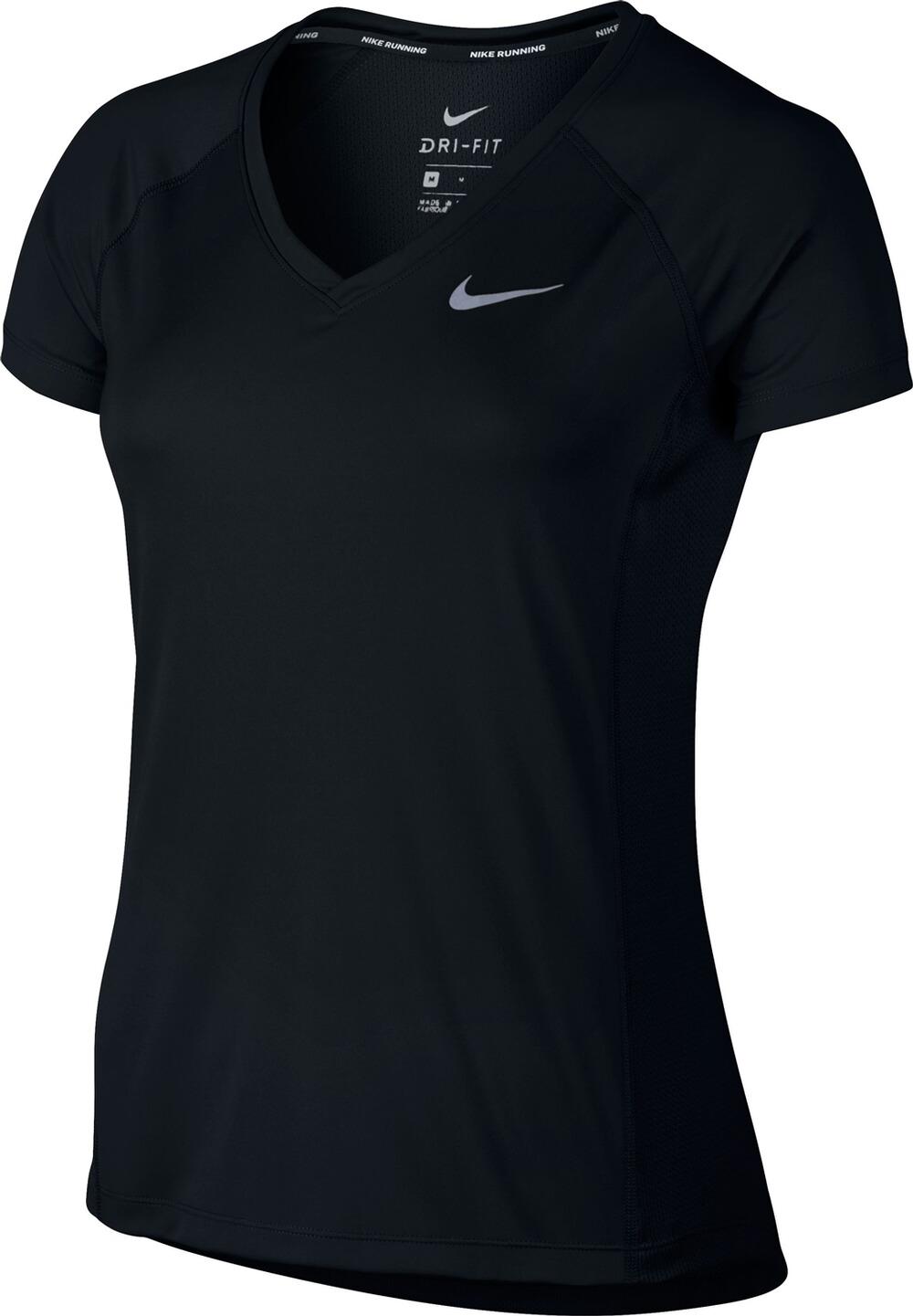 on feet images of sleek low price Details zu Nike Damen Laufshirt Sportshirt T-Shirt DRI-FIT MILER TOP V-NECK  schwarz