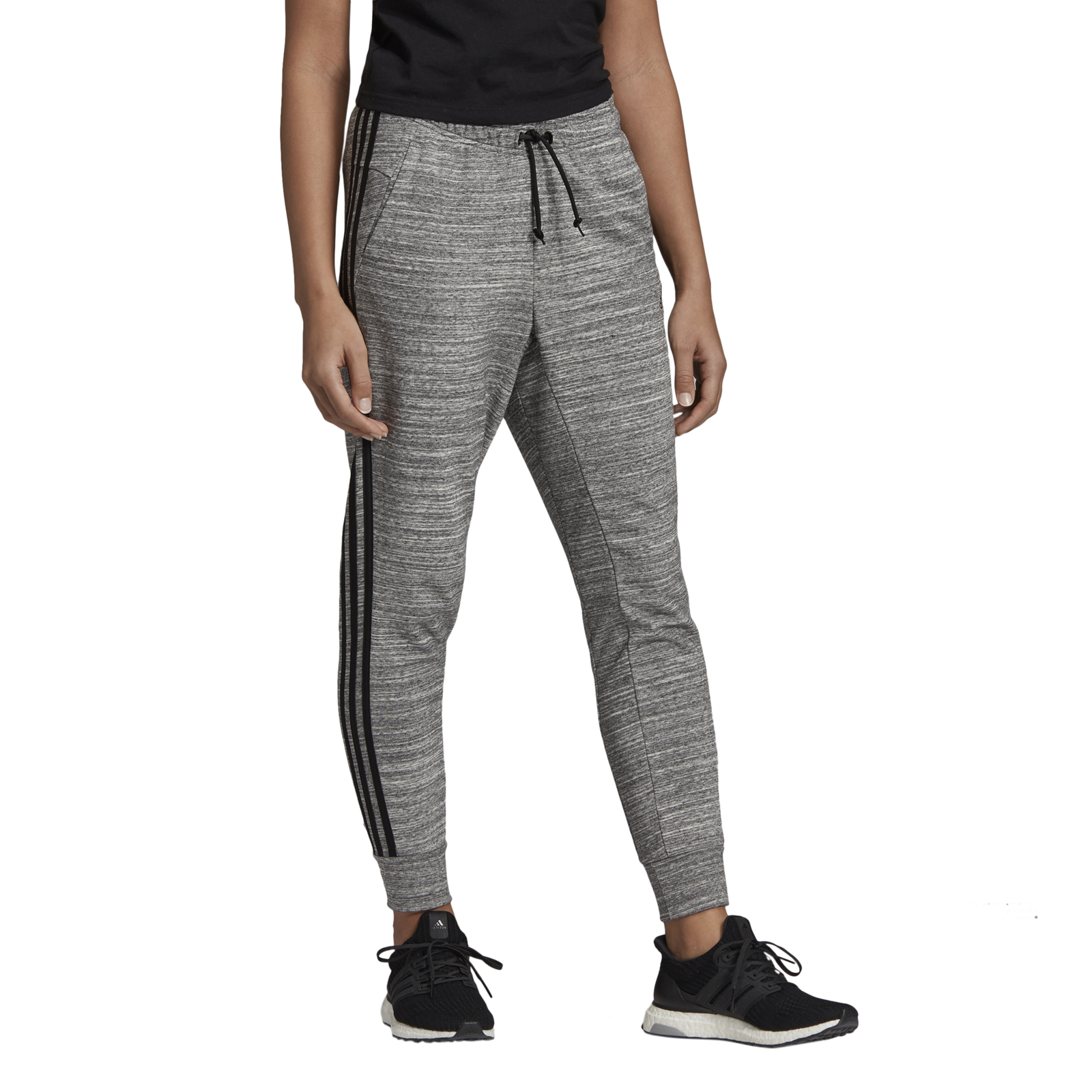 Details about Adidas Core Womens Sport Fitness Trousers Womens Must Haves Melange Pant Grey show original title