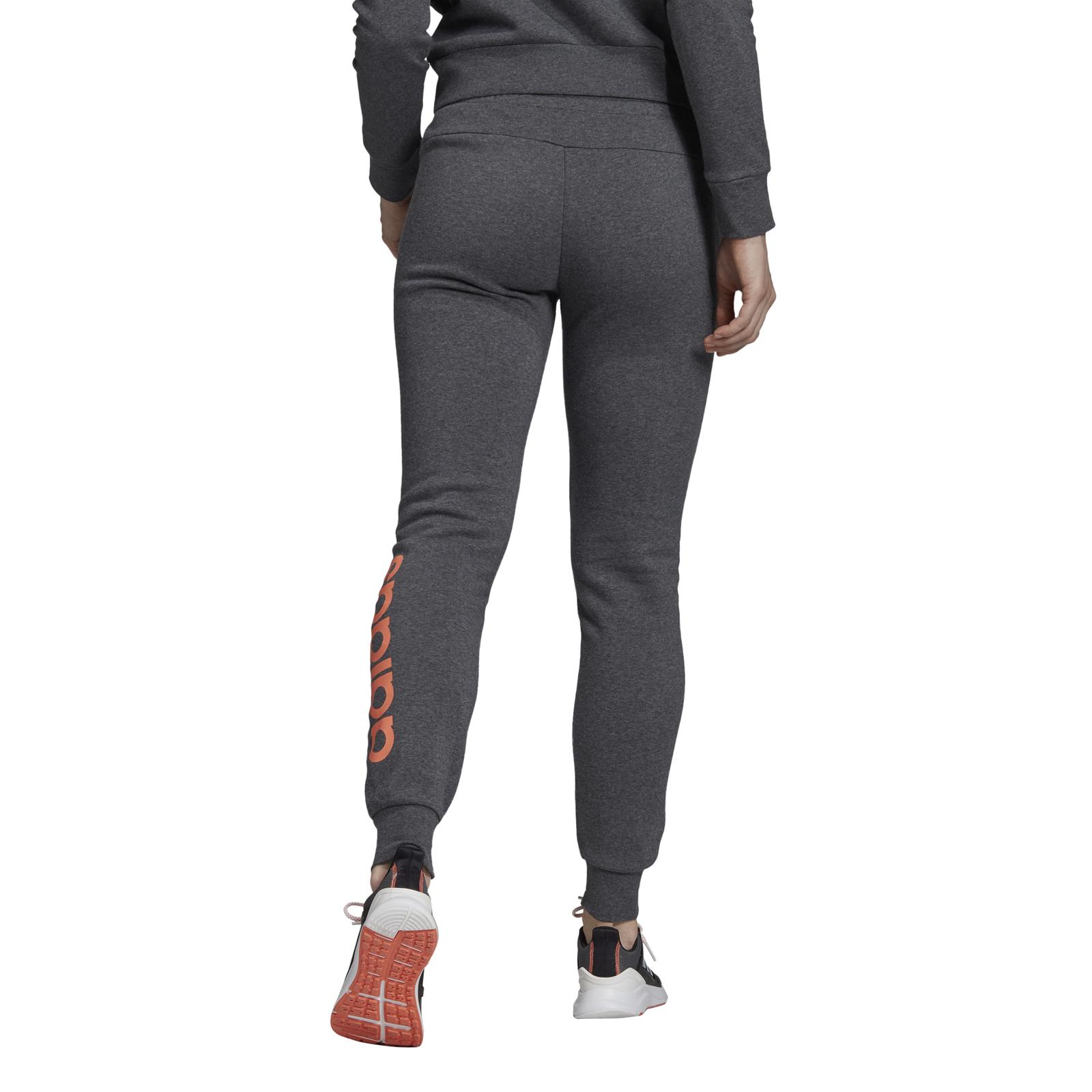 Details about Adidas Core Ladies Fitness Pants Tracksuit Bottoms Essentials Linear Fleece Grey