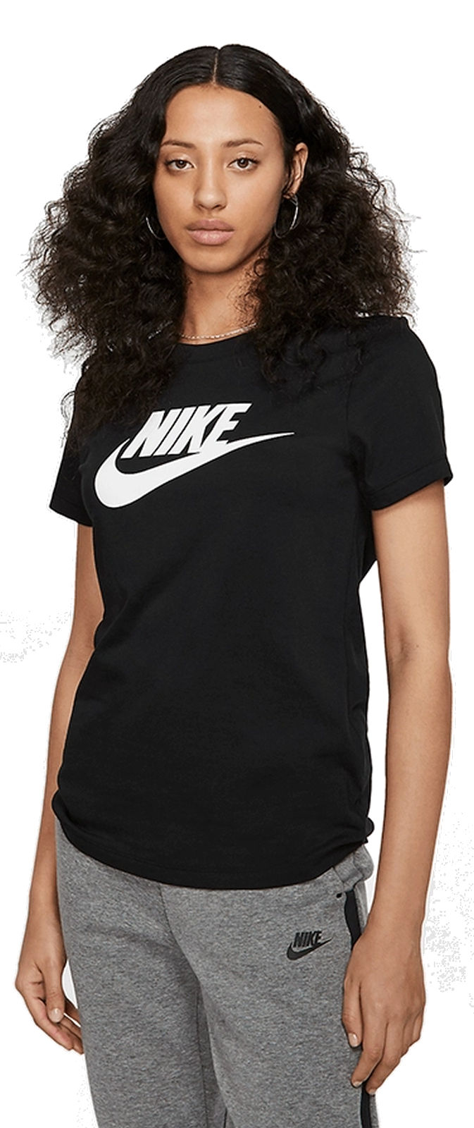 Details about Nike Women Fitness Training short Sleeve T Shirt Tee Essntl Icon Futura Black