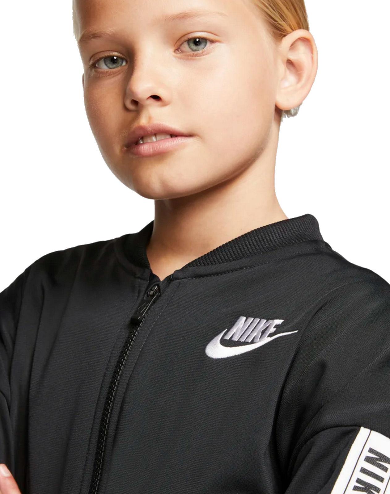 Details zu Nike Mädchen Freizeit Sport Trainingsanzug G NSW TRACK SUIT TRICOT schwarz weiß