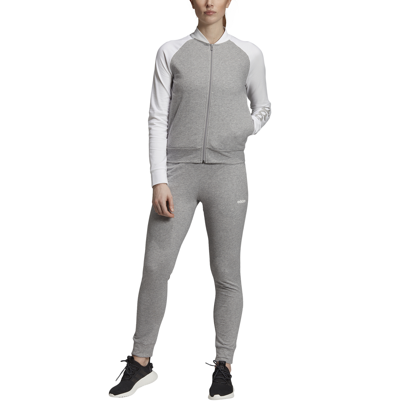 Details about Adidas Performance Women's Tracksuit New Cotton Marker Tracksuit Grey