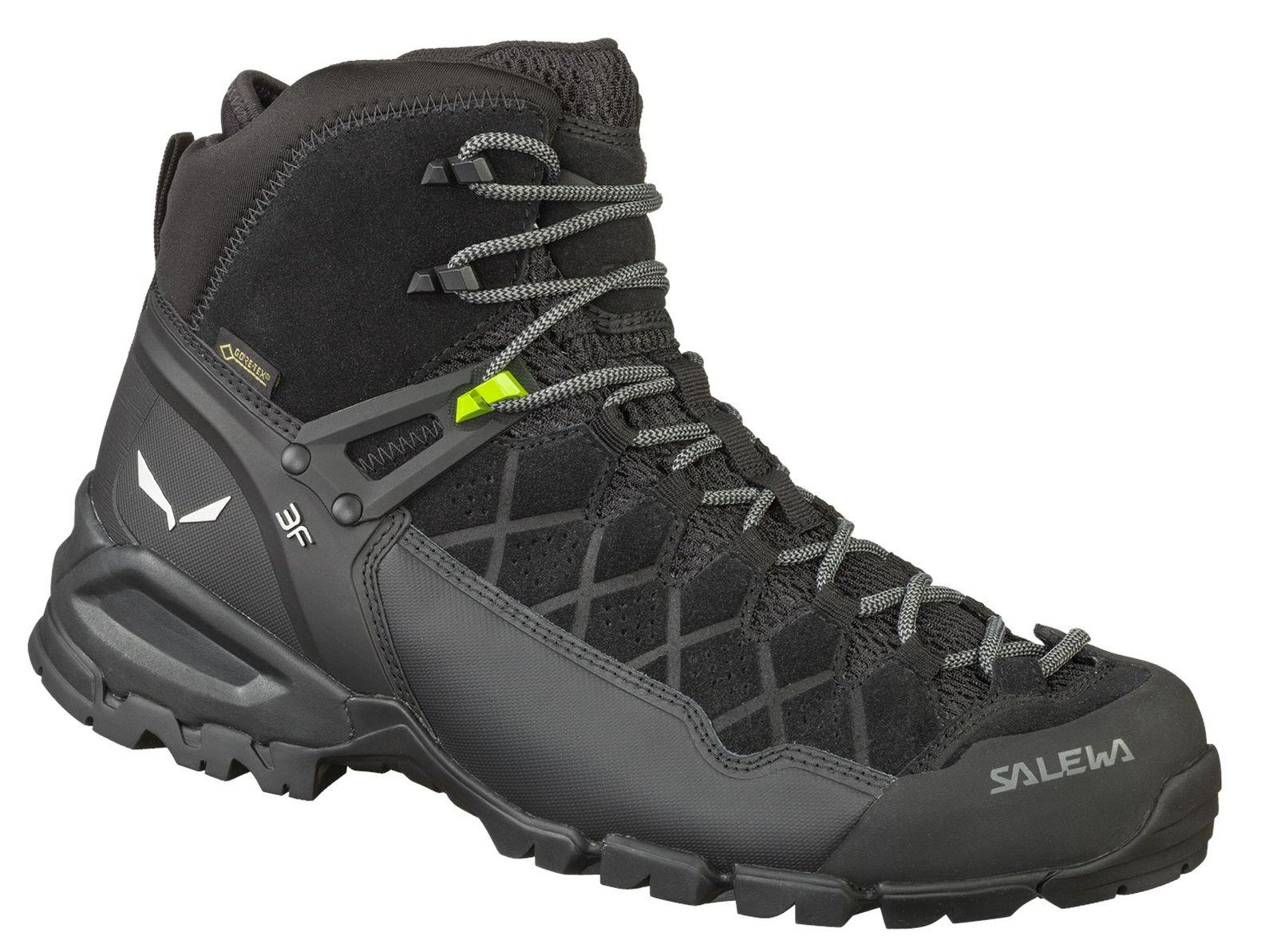 Détails sur Salewa Messieurs Randonnée Outdoor Multi Sport Chaussures M ALP TRAINER MID GTX NOIR afficher le titre d'origine