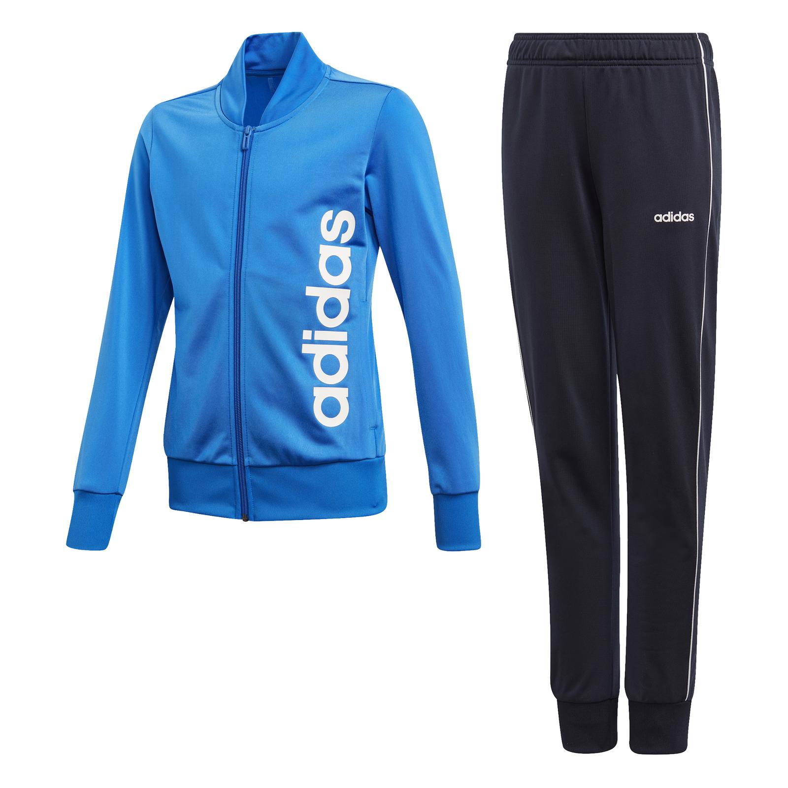 Details zu adidas Performance Mädchen Trainingsanzug Polyester Tracksuit blau