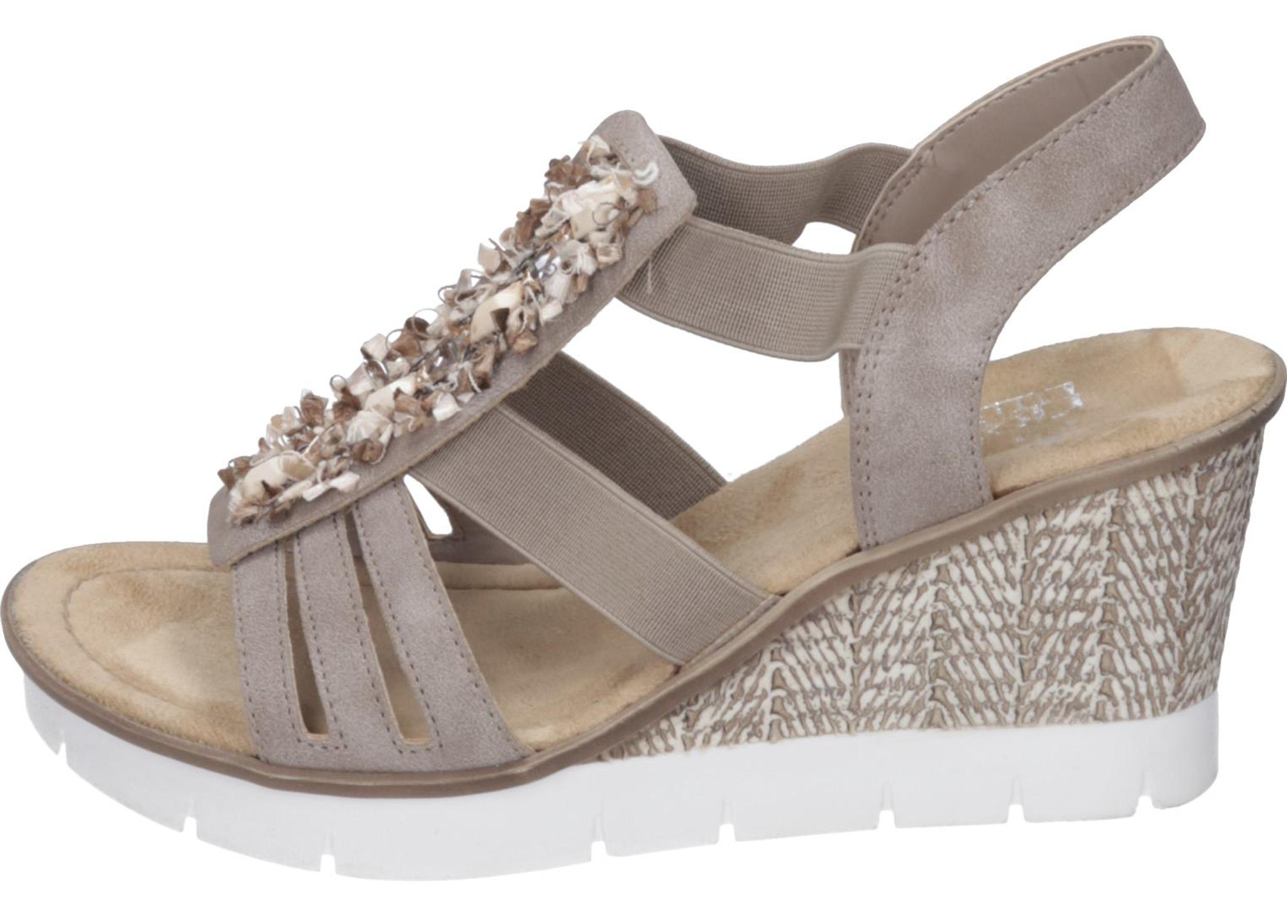 akribische Färbeprozesse Wählen Sie für offizielle amazon Rieker Damen Keil-Sandalette beige