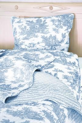 Toile de Jouy blau Bettwäsche 155x220 – Bild 2