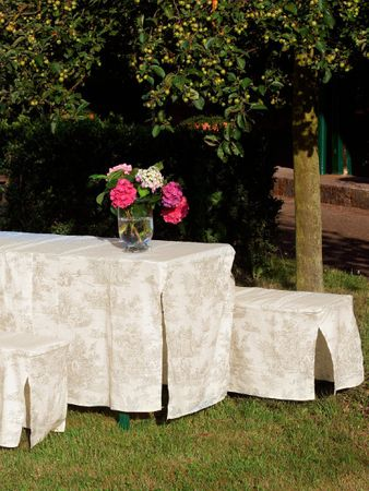 Toile de Jouy Beige/White Table & Bench Slip Cover 50cm