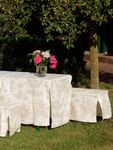 Toile de Jouy Beige/White Table & Bench Slip Cover 50cm 001