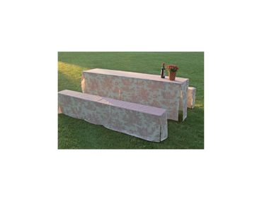 Toile de Jouy Red/White Table & Bench Slip Cover 70cm