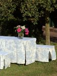 Toile de Jouy Blue/White Table & Bench Slip Cover 70cm