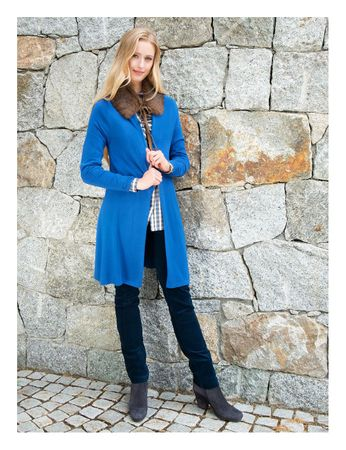 Albyn Knitted Cardigan Coat Azure Blue – Bild 4