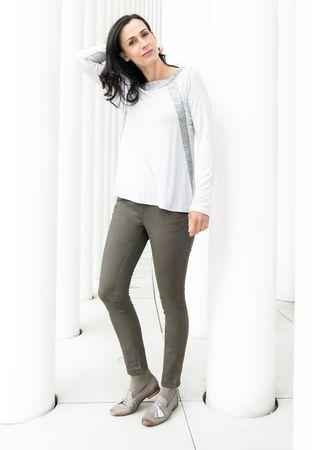 Cammo Jersey-Shirt Pailletten silbergrau – Bild 2