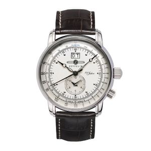 ZEPPELIN 100 Jahre Zeppelin Quartz, 7640-1, Dual Time, Big Date, silver