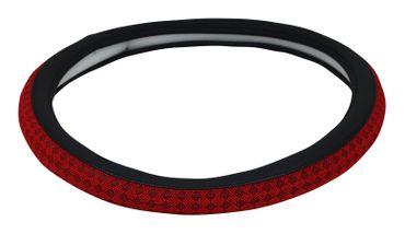Modischer Lenkradbezug Karo in schwarz-rot