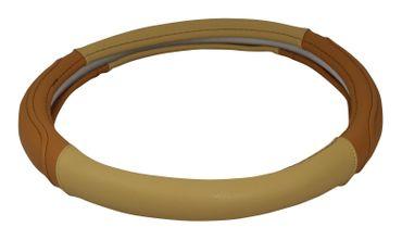 Braun-beiger Lenkradbezug Lorenzo in schickem Design – Bild 1