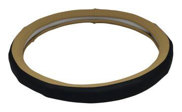 Schwarz-beiger Lenkradbezug Leonardo in schickem Design – Bild 1