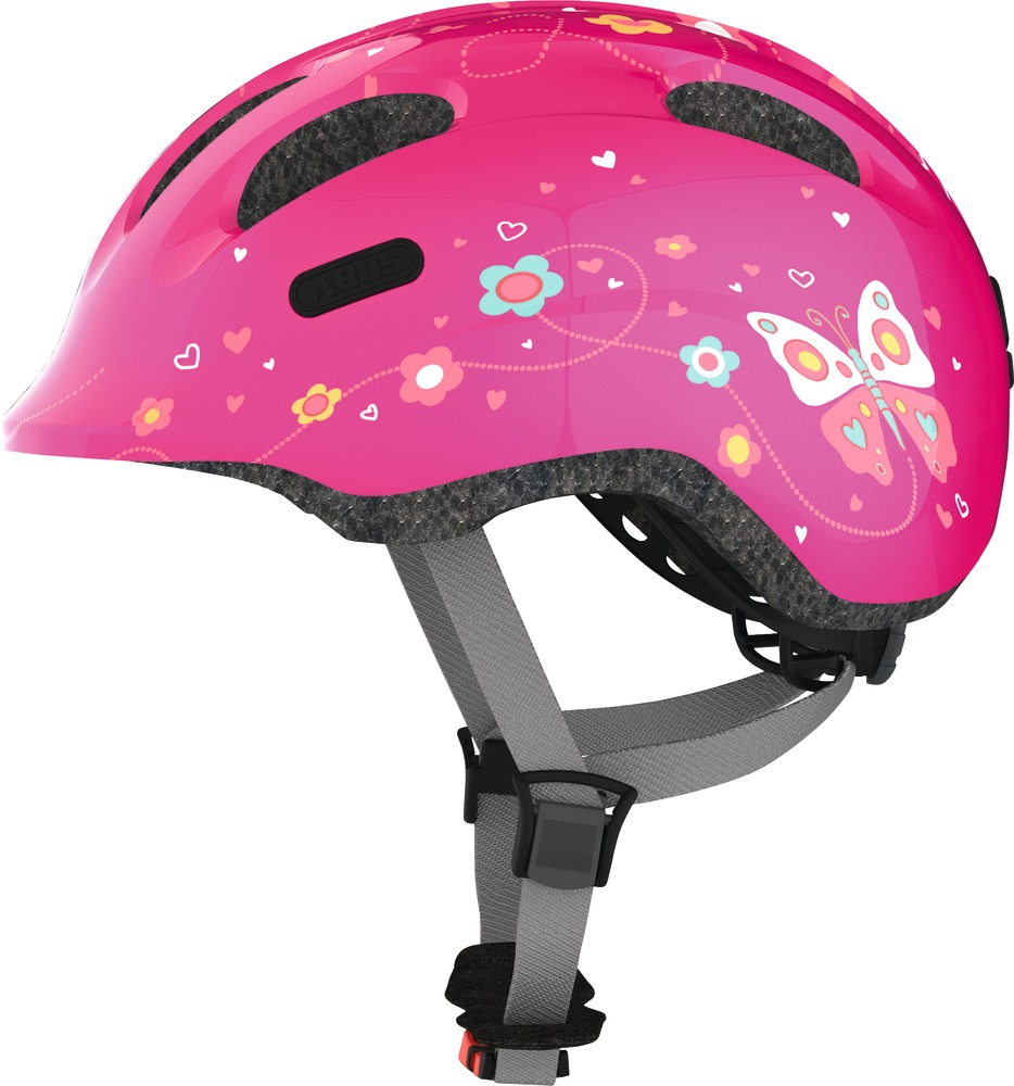 Kinder-Fahrradhelm Abus Smiley 2.0 pink butterfly M 50-55 cm Kopfumfang  – Bild 1