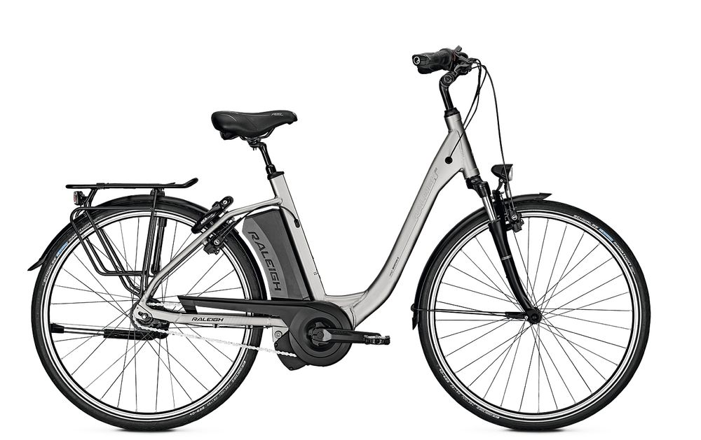 E-Bike Raleigh Boston 8 Hs 8G Comfort Wave Freilauf 13 Ah silvermatt 26""
