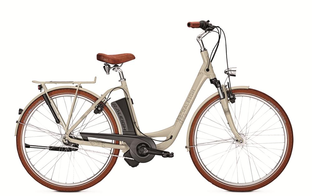 """E-Bike Raleigh Dover 7 Hs 7G Wave Freilauf 11 Ah beige 26"""" Rh 46 cm"""