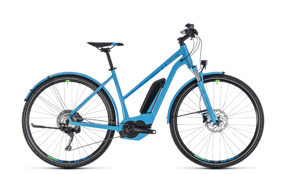 "E-Bike CUBE Cross Hybrid Race Allroad 500 28"" 11-Gang 2018 Trapez in blue´n´green"