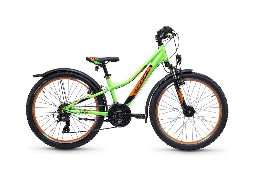 """Jugendrad S'COOL troX urban 24"""" 21G Rh 32 cm neon green"""