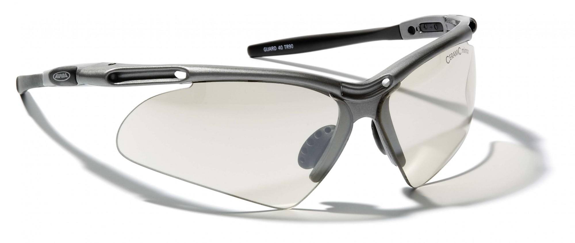 Sportbrille Alpina Guard 40 platin zinn amp; schwarz randlose Brille ...