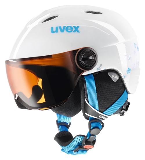 Kinderskihelm Uvex Junior visor white turquoise