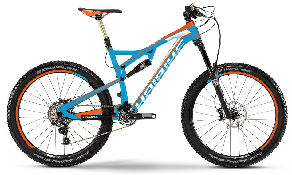 "MTB Haibike Heet 7.30 27,5"" 11-Gang blau matt/orange/weiß Carbon-Fully"