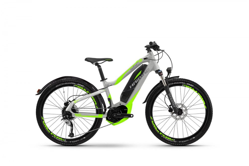 "E-Bike Haibike SDURO HardFour Street 4.5 24"" 9-G Acera Rh 34 cm silber/neongrün"