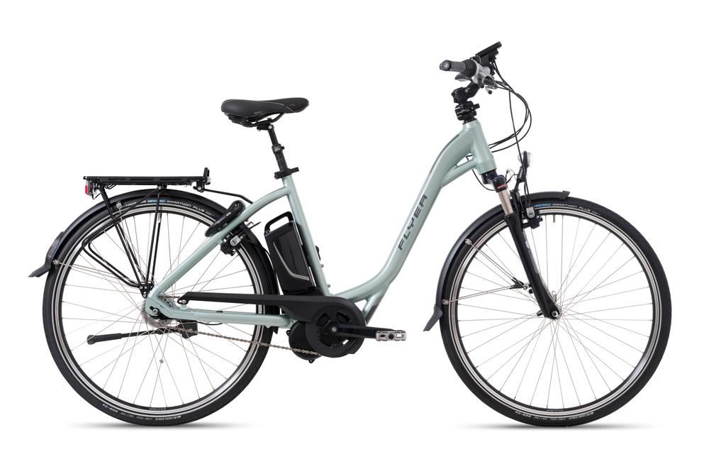 E-Bike Flyer T8.1 Tiefeinsteiger Grün Freilauf Gr. L 55 cm 12 AH Akku